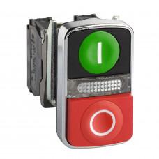 Кнопка (XB4BW73731G5) 22 мм 120В двойная с возвратом с подсветкой Schneider Electric